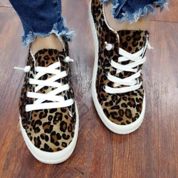 Shoes | Leopard Lace Up Sneaker | Poshmark